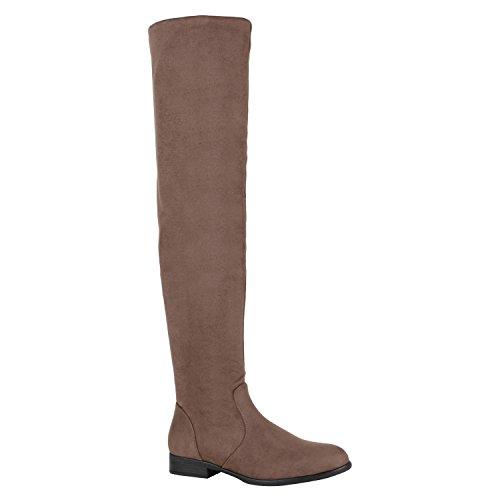 Gefütterte Damen Overknees Metallic Winter Stiefel Leder-Optik Schuhe 149771 Khaki Avelar 37 Flandell