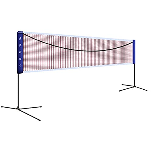 バドミントンネット バックヤードポータブルアセンブラル可能な取り外し可能なバドミントンスタンドの屋外/屋内裁判所バックヤードビーチのためのバッキントンネット バドミントン練習用 (色 : 青, Size : 6.1x1.55m