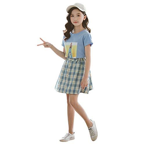 3-12 Años,SO-buts Bebés Niñas Moda Imagen Tops Camiseta Casual Camiseta Faldas a Cuadros Trajes Ropa Encantadora De Verano Conjunto (Azul,9-10 años)