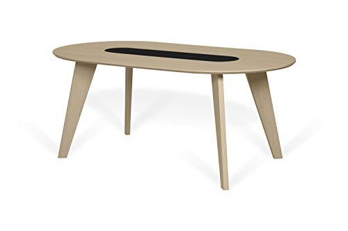 TemaHome Table de Salle à Manger Lago, MDF, chêne Clair et Noir, 180 x 100 x 75 cm (L x P x H)