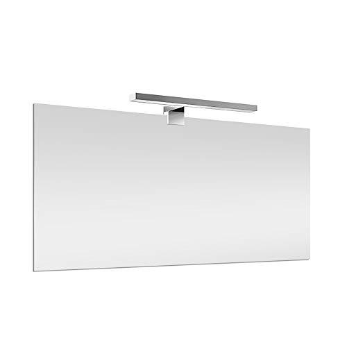 Inbagno Specchio con Lampada LED 100x60 cm Reversibile, specchiera a Filo Lucido, Lampada Cromo L.50 cm a Risparmio energetico
