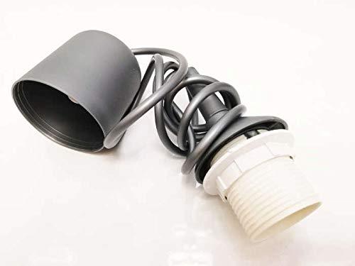 Schnurpendel für Hängelampen, 130cm, E27 Silber Pendel Fassung Abhängung Lampe für Pendelleuchte 230V max 50W doppelt isoliert (KL2) 130 cm kürzen möglich