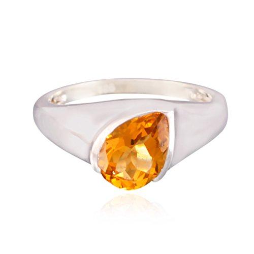 echte Edelsteine Birne facettierten Citrin Ring - 925 Sterling Silber gelben Citrin echten Edelsteinen Ring - guter Schmuck schönes Geschenk für den Vater Tag Ring
