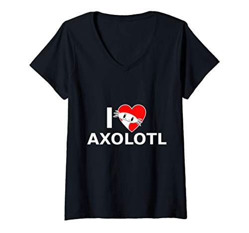 Damen Lustige Axolotl Amphibien Lurch Aquarium Geschenke T-Shirt mit V-Ausschnitt