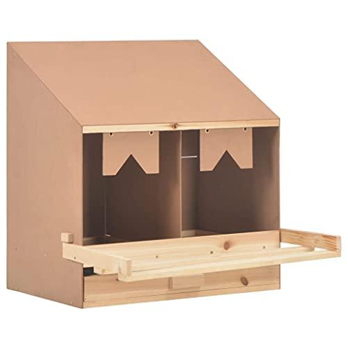 LINWXONGQP Material: Madera Maciza de Pino + MDF Ponedero para gallinas 2 Compartimentos Madera Pino 63x40x65cm