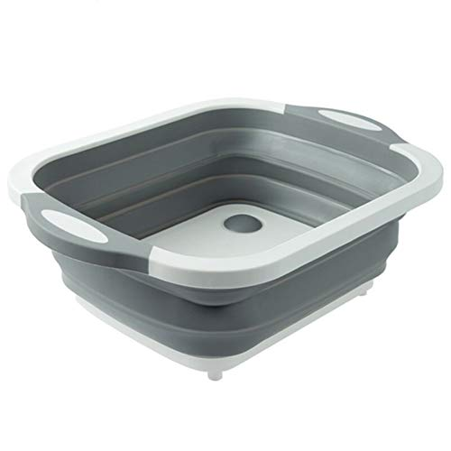 Collapsible Sink Foldable basin - Vegetable Basket Collapsible Dish Pans Chopping Board Strainer Portable Wash Basin Dishpan Tub Drainer Plug for RV Sink Convenient for your storage and organization P
