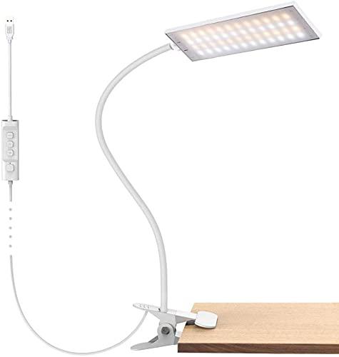 HZNZYJ Lámpara de Escritorio de Clip de Metal Regulable USB 14 Niveles de Brillo 3 Temperatura de Color Ajustable Adecuada para el Trabajo de Lectura en el hogar