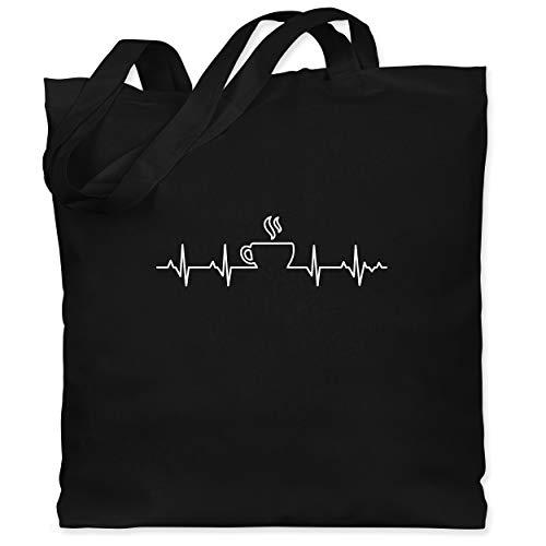 Shirtracer Küche - Herzschlag Kaffee - Unisize - Schwarz - herzschlag kaffee jutebeutel - WM101 - Stoffbeutel aus Baumwolle Jutebeutel lange Henkel