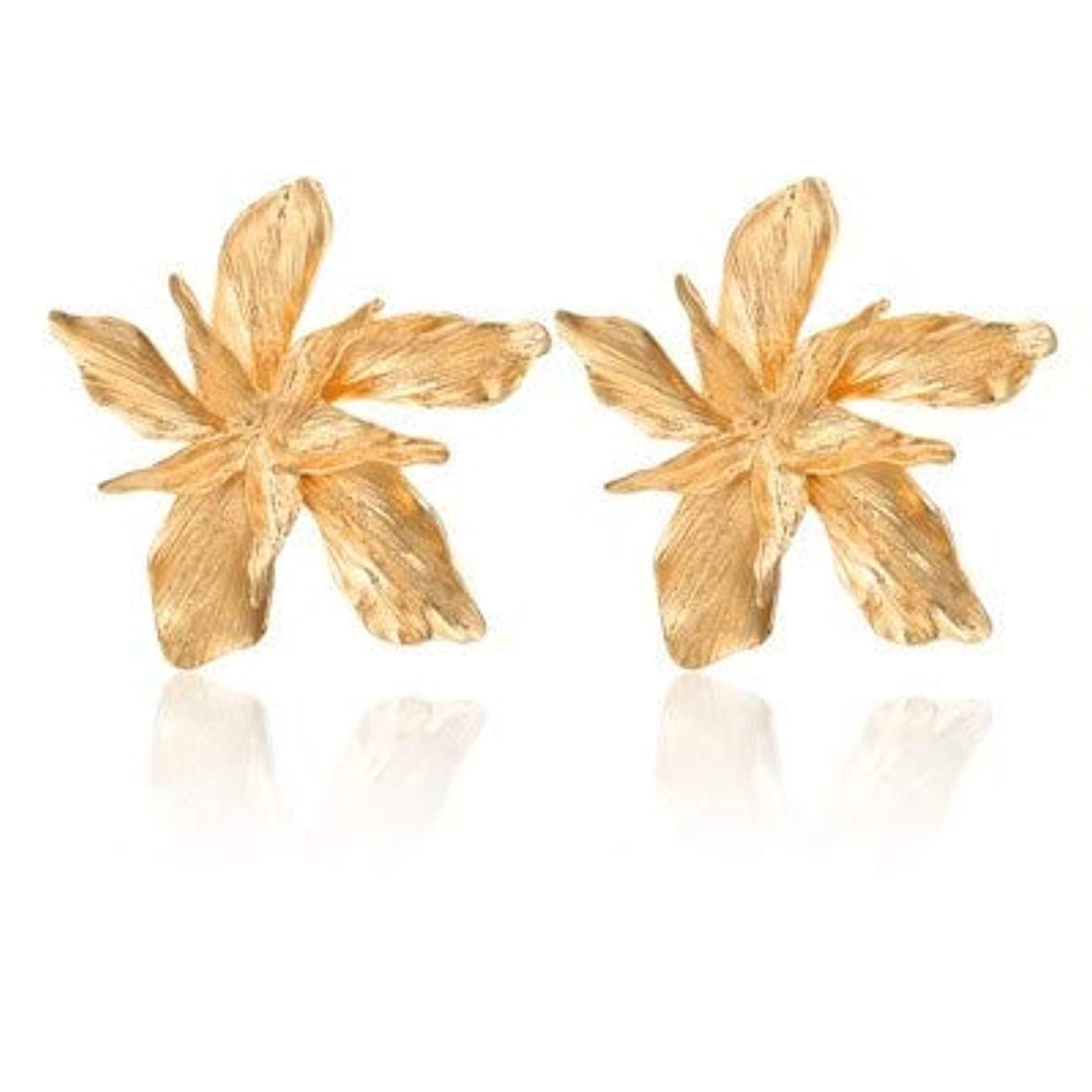 ブルゴーニュ教える生産的DYWJ 女性の流行のメタル花パーティージュエリーのためのエレガンスシルバーゴールドビッグフラワードロップちらつかイヤリング (Color : Gold)