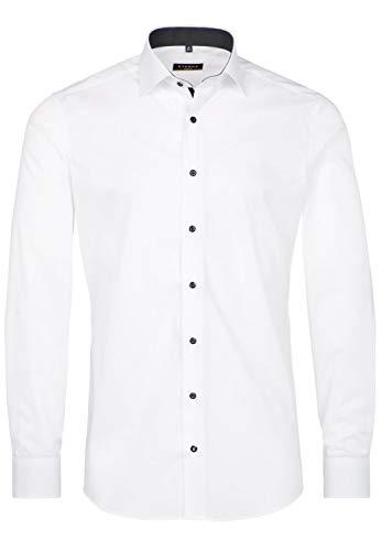 eterna Langarm Hemd Slim FIT Stretch Unifarben,W42 Langarm,Weiß