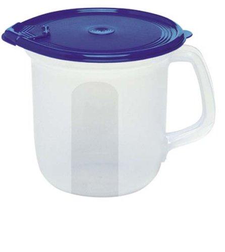 Emsa 2108154400 Milchkanne, Verschließbarer Ausgießer, 1.5 Liter, Transparent/Blau, Superline