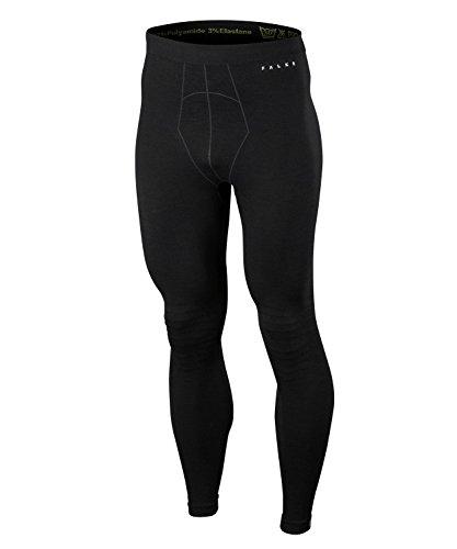 FALKE Herren Long Tights Wool Tech, Leggings mit Merinowolle, atmungsaktive Funktionswäsche zum Skifahren, Schneewandern, Sport, 1 Paar, Schwarz (Black 3000), Größe: L