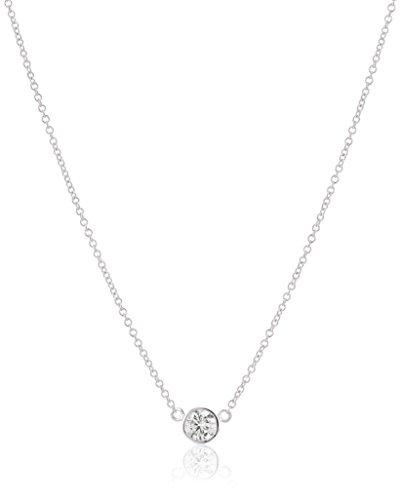 14k White Gold Bezel Set Solitaire Adjustable Pendant Necklace (1/4cttw, K-L Color, I2-I3 Clarity), 16' + 2' Extender