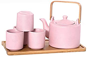 Happy Sales HSTS-KYTPNK Ceramic Teapot with Stainless Steel Infuser and Wooden Handle 28 fl ounce and Four Tea Cups with Bamboo Serving Tray Tea Set Pink