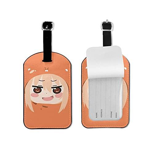 Anime Himouto! Umaru-chan etiqueta de equipaje elegante y exquisita, hecha de piel sintética de microfibra, apto para maleta y bolso