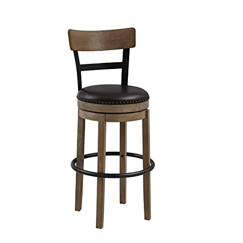Ball & Cast Swivel Pub Height Barstool 29 Inch Seat Height Light Brown Set of 1