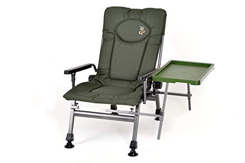Angelstuhl Campingstuhl Carp F5R ST Stuhl Deluxe Karpfen Angler Campingstuhl mit extra Höhe und Tisch