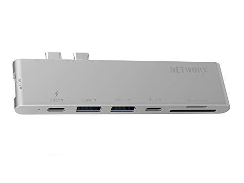 Networx Dual USB-C Hub, 2x USB-C, USB 3.1, micro SD, 4K HDMI, silber