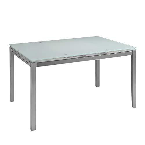 MOMMA HOME Mesa de Comedor Extensible - Modelo Helen - Color Blanco/Plata - Material Cristal Templado/Metal - Medidas 140/220 x 90 x 76,5 cm