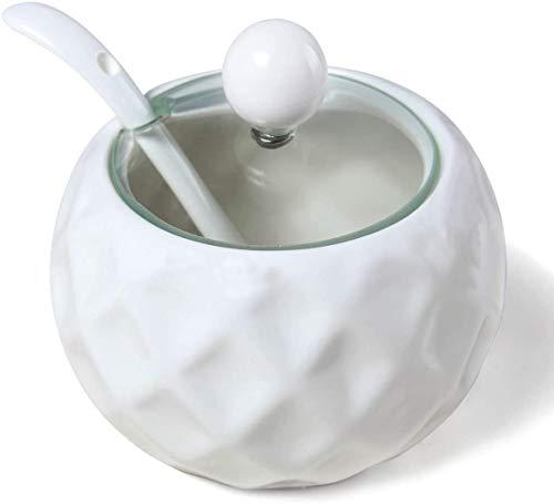 Sucrier en céramique, Chase Chic Sucrier en Porcelaine Moderne avec Couvercle Transparent et Cuillère en Verre 8,8 oz/250 ml en Forme de Losange, Parfait pour Café-bar, Cuisine à la maison