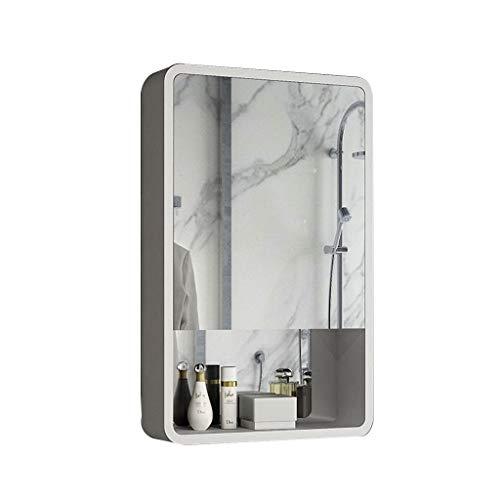 Badkamer kast/wandkastje met spiegel en opbergrek, medicijnkastje, houten.