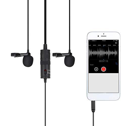 Qkiss 13ft Lavalier Clip-on microfoon voor mobiele telefooncamera's PC, reverscondensatormicrofoon 3.8mm met anti-interferentieontwerp