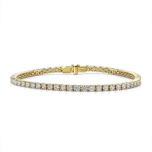 Orovi Damen Armband Gelbgold 4.00 Ct Diamant Tennisarmband 14 Karat (585) Gold und Diamanten Brillanten, Länge 18 cm