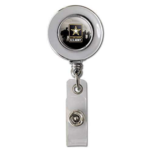 U.S. Army Logo with Soldier Silhouettes Retractable Reel Chrome Badge ID Card Holder Clip