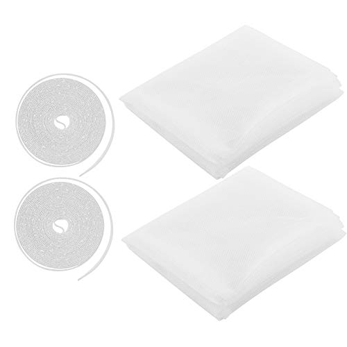 CM Window Screen Mesh Netting Curtain Window Protector Cover with Self-Adhesive Sticky Tapes, 2 Sets (White)