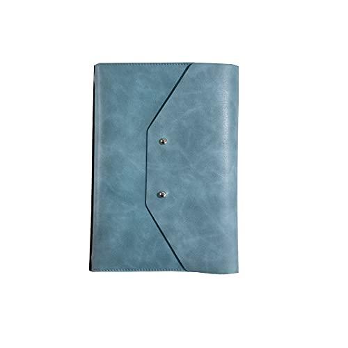 FACHAI - Bloc de notas A5, tapa de piel, cuaderno de notas, hojas en blanco, planificador diario, papel de alta calidad, banco de alimentación móvil, 23 x 16,8 cm, color azul