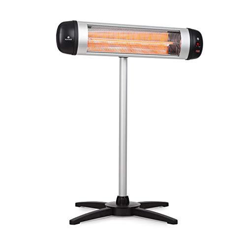 Blumfeldt Rising Sun • Infrarot-Heizstrahler • Carbon-Heizelement • gezielte Wärmeabgabe • Höhenverstellbarkeit von 70 cm • Stativ-Standfuß • 850 / 1650 / 2500 Watt Leistung • Abschalt-Timer bis 24 St. • LED-Anzeige am Gerät • Fernbedienung • Aluminium