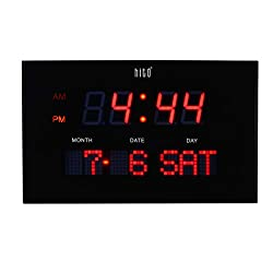 hito 10.6 Large LED Wall Clock Date Day 3 Adjustable Brightness Memory Function, Adapter Included (Red 10.6)