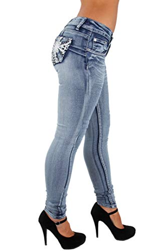 Style SF35057S-Colombian Design, Butt Lift, Levanta Cola, Skinny Jeans in Washed Blue Size 13