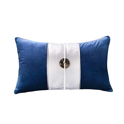 QMZ Fundas de Cojines Funda de Almohada Cuadrada de la Serie de Tinta Azul China (sin núcleo) 45cm sofá Dormitorio Funda de Almohada Decorativa con Cintura 15x55cm