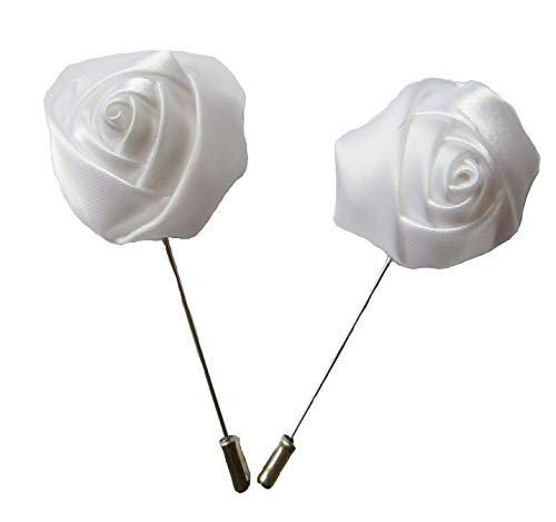 6 pcs Satin Rose Lapel Pins,YYCRAFT Men's Flower Boutonniere Pins for Party Business Wedding Suit,White