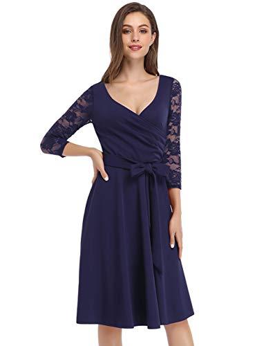 KOJOOIN Damen Spitzenkleid Vintage 50er V-Ausschnitt Abendkleid Rockabilly Retro Kleider Hepburn Stil Cocktailkleid Langarm Dunkelblau【EU 42-44】/L