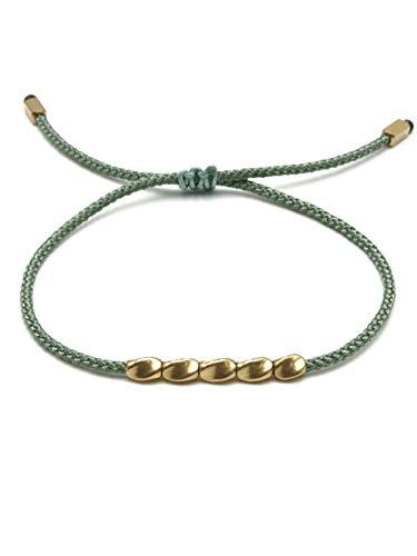 BENAVA Tibet Armband Stoffarmband geflochten mit Kupfer Perlen Türkis Mint | Minimal Freundschaftsarmband | Handmade Buddhistischer Boho Schmuck | Ideal als Geschenk für Freundin Paare oder Pärchen