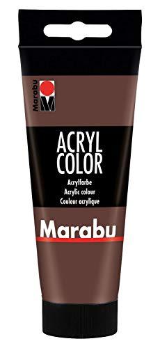 Marabu 12010050040 - Acryl Color mittelbraun 100 ml, cremige Acrylfarbe auf Wasserbasis, schnell trocknend, lichtecht, wasserfest, zum Auftragen mit Pinsel und Schwamm auf Leinwand, Papier und Holz