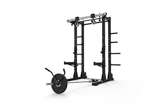Primal Stärke Stealth kommerziellen Fitness Half Power Rack matt Nero mit Drehgelenk Kinn Griffe und Bügelgriff Befestigung