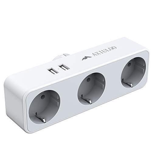 AXIULOO Steckdosenadapter, 3Fach USB Steckdosen mit 2 USB Adapter Steckdose 2.4A, 3-Fach Steckdosenverteiler, 5-in-1 Verteilersteckdose mit USB Ladegerät Stecker