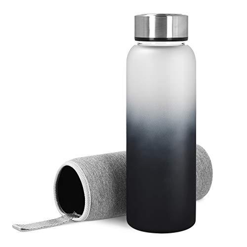 Navaris Glasflasche mit Neoprenhülle 950ml - Trinkflasche aus Borosilikatglas mit Hülle aus Neopren - Glas Flasche - schadstofffrei auslaufsicher