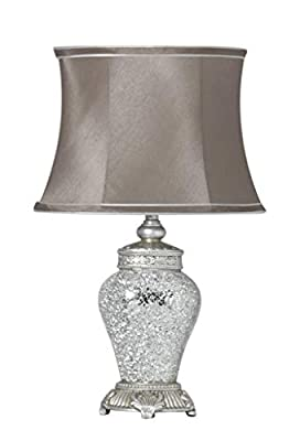Large Silver Unique Regency Mosaic Lamp with Taupe Shade