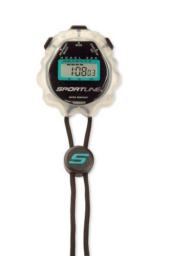 Sportline Gel Sports Timer Clear ( 226-2 ) Includes Stopwatch, Warranty Card, Instruction Sheet, and Walking Book by Sportline