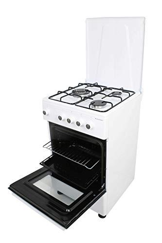 Cuisinières à gaz avec four CGS-50B MILECTRIC (3 tranches, blanc, cuisinière indépendante, plaque + four, kit gaz naturel, double porte verre four, brûleurs avec sécurité)