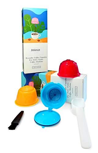 Zelonot-dolce gusto capsulas recargable de colores ecológica-Pack 3 cápsulas dolce gusto recargables-Filtros reutilizables para cafe-