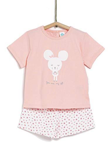 TEX - Pijama de 2 Piezas Manga Corta Unisex de Bebé, Coral, 12 Meses