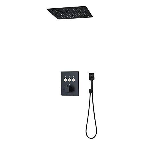 SJIUH Juego de Ducha Accesorios de baño Kit de Cabezal de Grifo de Ducha Negro Mate Colorido LED Interruptor de botón de 3 Funciones Juego de Ducha termostática, China