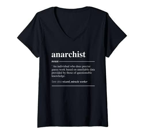 Mujer Definición anarquista Funny Sustantivo Camiseta Cuello V