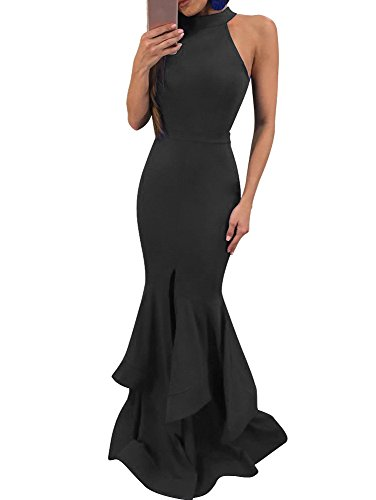 GOBLES Womens Elegant Ruffles Sleeveless Split Evening Mermaid Maxi Dress