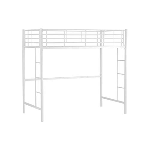 YORKING Single Loft Bed High Sleeper Bed Metal Bunk Bed Frame Day Bed With Double Ladder And Safety Guardrail White